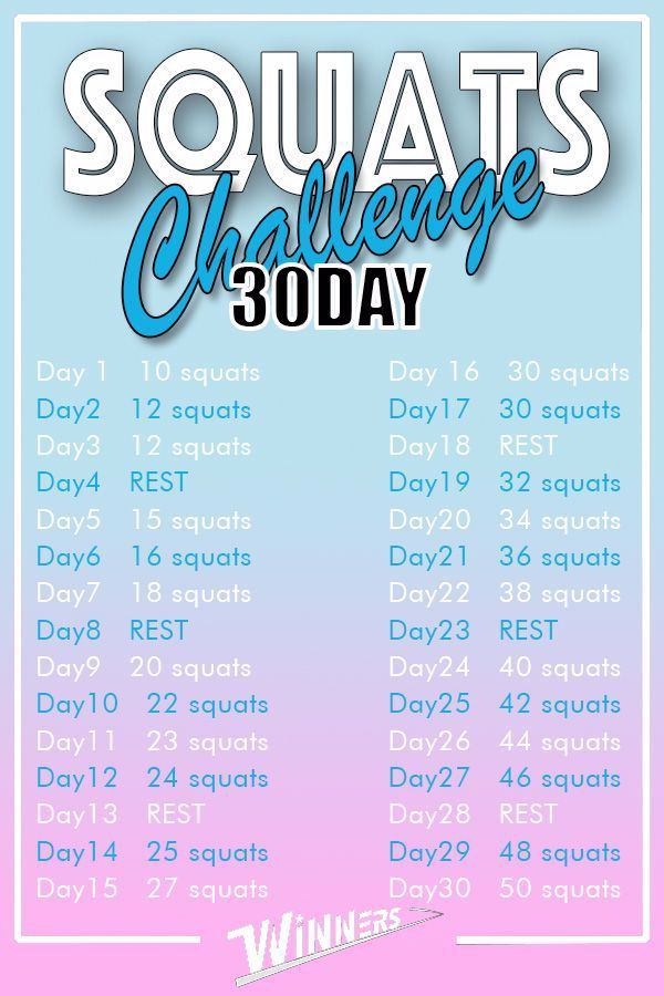 Time to squats! Try this plan. 10 squats ➡ 50 squats! #fitness #squats #squat #challenge