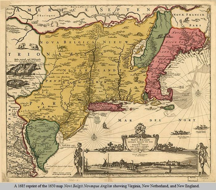 A Reprint Of A Map Showing Virginia New Netherland - Map sweden 1650