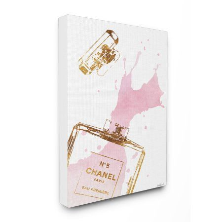 Stupell Perfume Bottle Splash Pink Gold Oversized Canvas Art