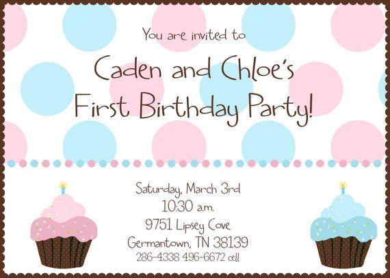 twin first birthday cupcake birthday party invitation digital