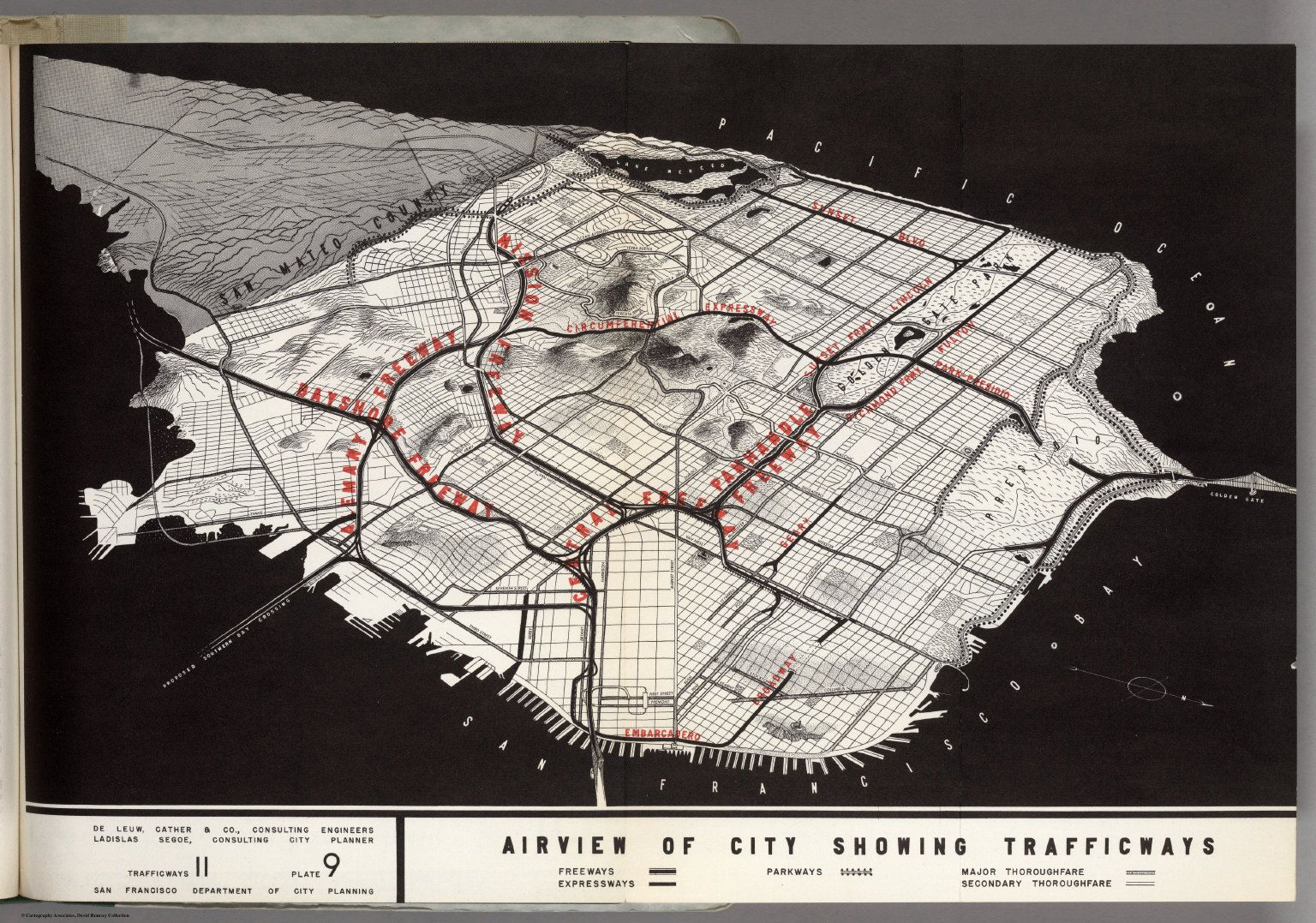 Airview of San Francisco showing trafficways 1948
