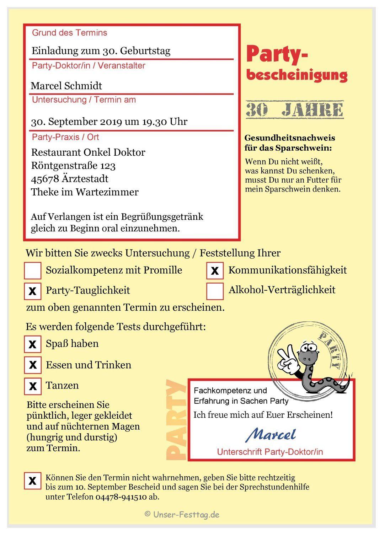 Krankschreibung Als Einladungskarte Einladungen Einladung