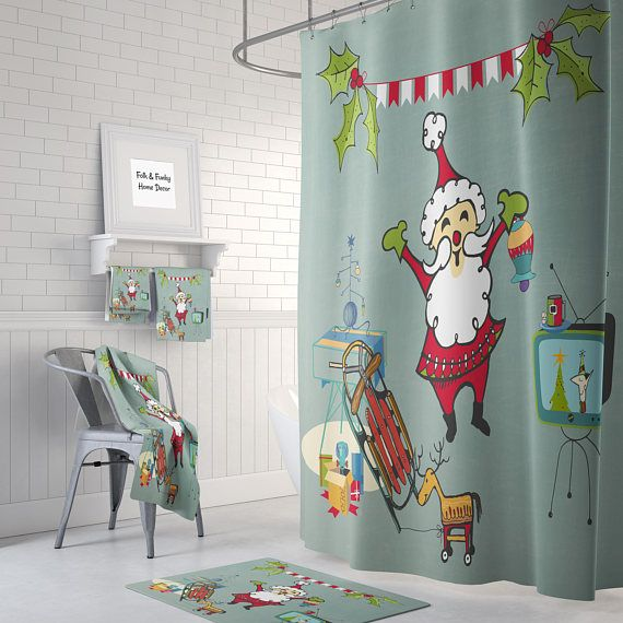 Santa Bathroom Accessories and Decor | Christmas shower ...