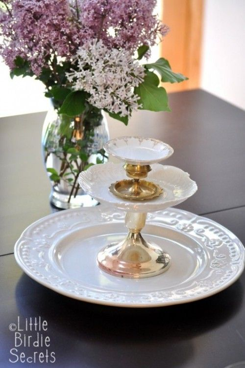 DIY Multi-Level Serving Dish For Parties using repositionable adhesive or tacky putty