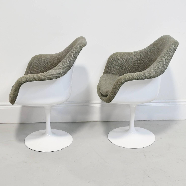 Pair Of Vintage Knoll Eero Saarinen Fully Upholstered Tulip Swivel