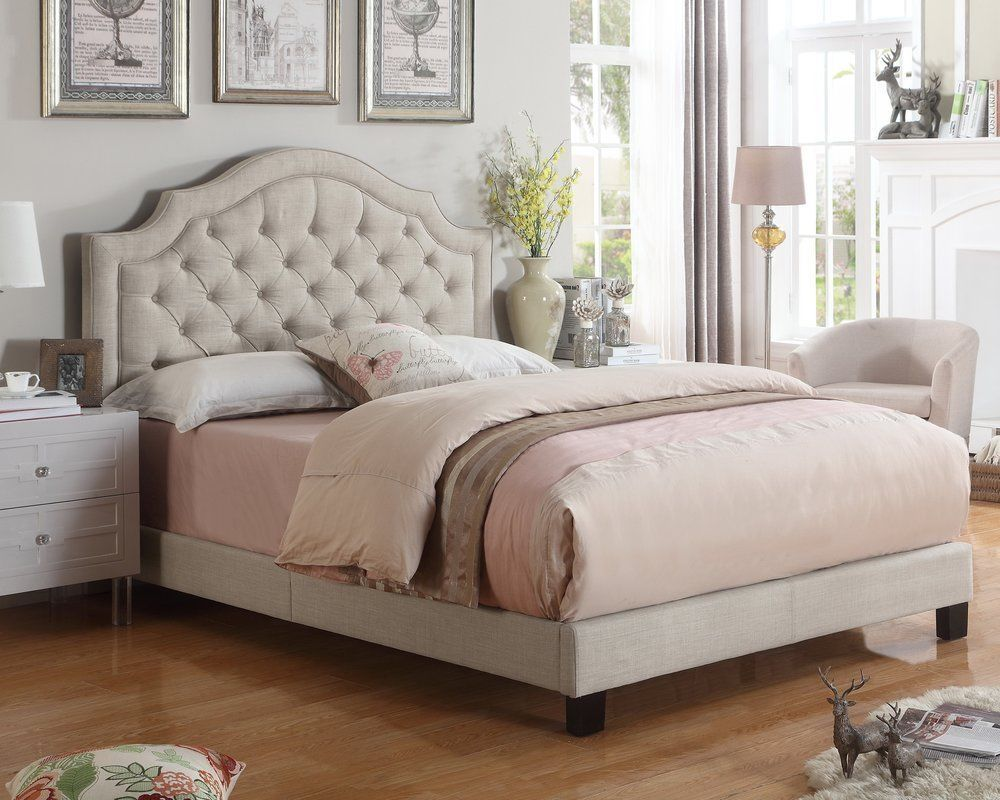 Details About Twin Full Queen King Beige Upholstered Platform Bed Frame Tufted Fabric Bedroom Upholstered Panel Bed Upholstered Platform Bed Panel Bed