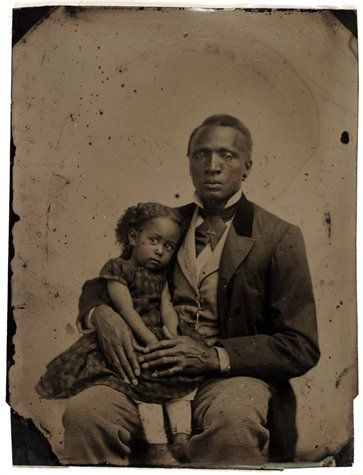Her little face! African-American man and girl, 1870s tintype, 3 1/8 in. x 4 1/8 in. SFMOMA.....I really wonder about antique photos...the story behind the photo.