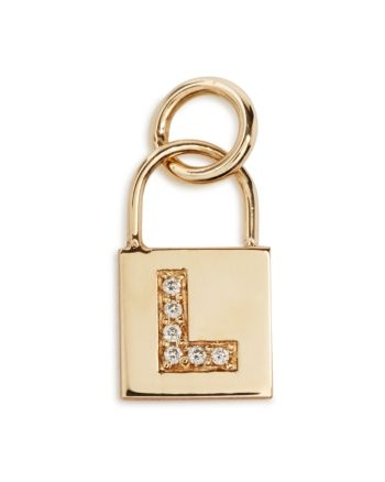 Zoe Chicco 14K Yellow Gold Initial Padlock Charm with Diamonds