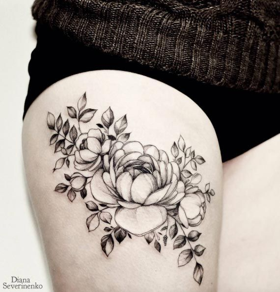 these 45 thigh tattoos for women might just be the best ever blackwork diana and floral. Black Bedroom Furniture Sets. Home Design Ideas