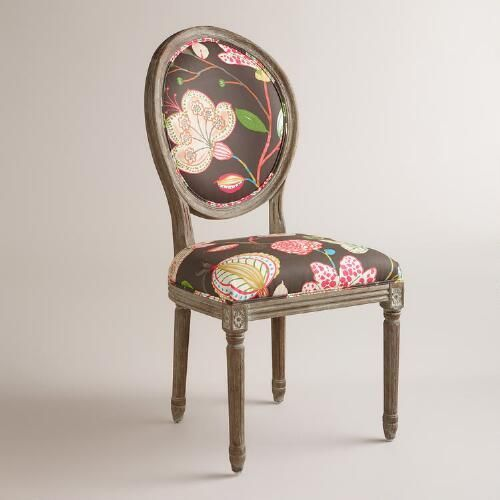 Brown Floral Paige Round Back Dining Chairs Set of 2 – Floral Dining Chairs