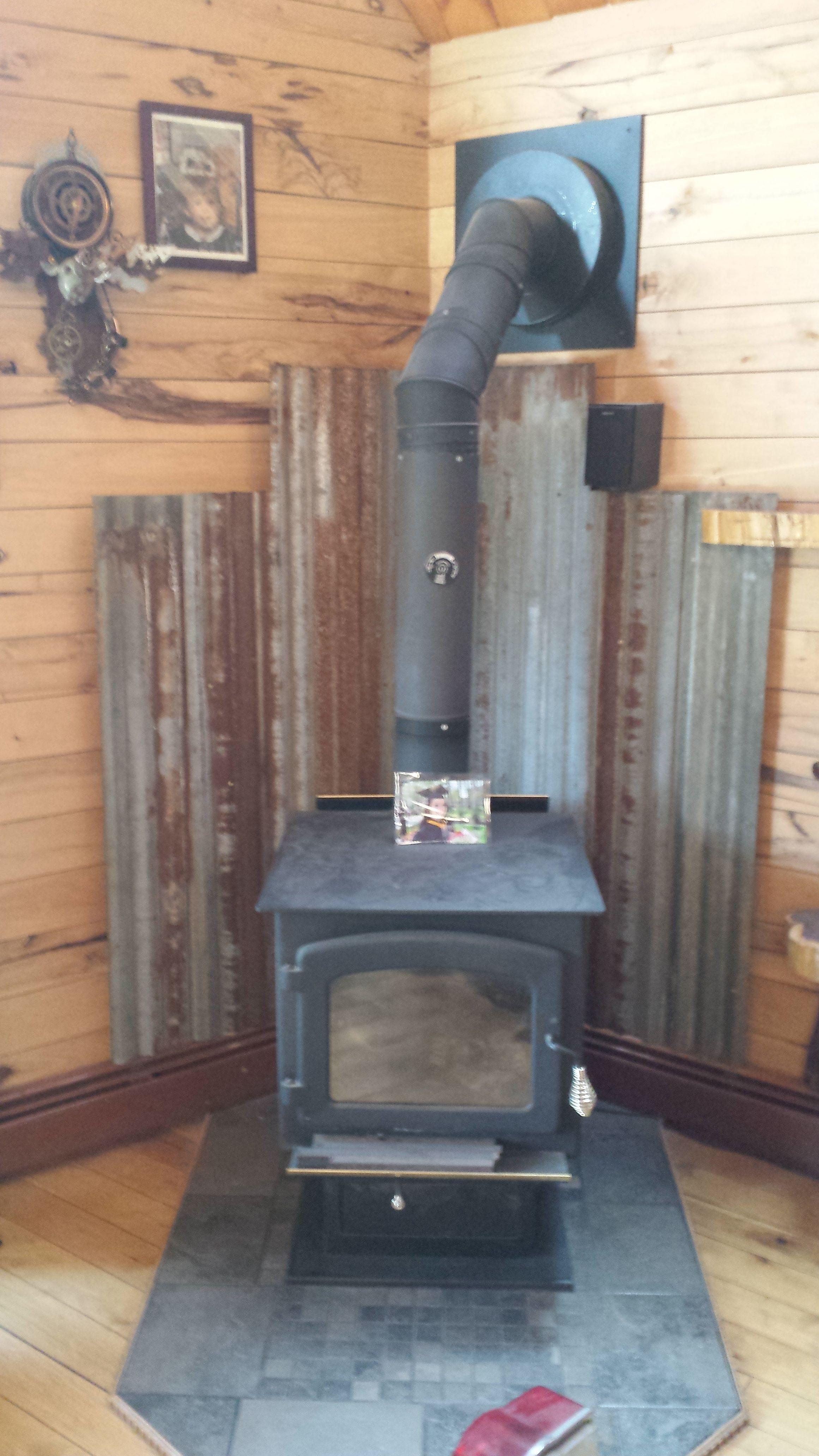 Wood stove surround ideas - Metal Barn Roof Tin Woodstove Heat Shield