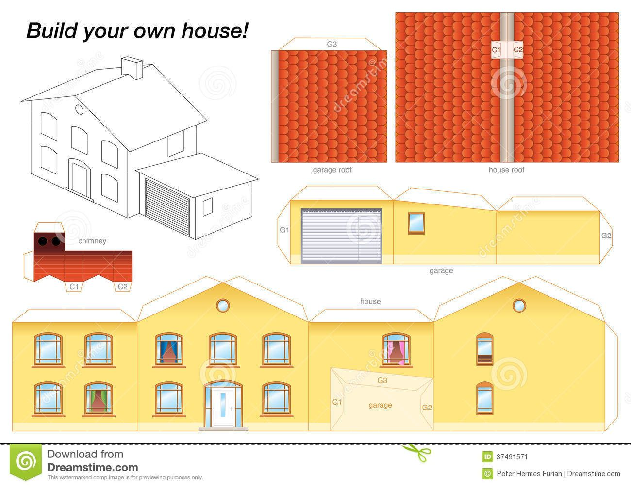 paper model house yellow download from over 54 million high quality stock photos images - Build Your Own Model House