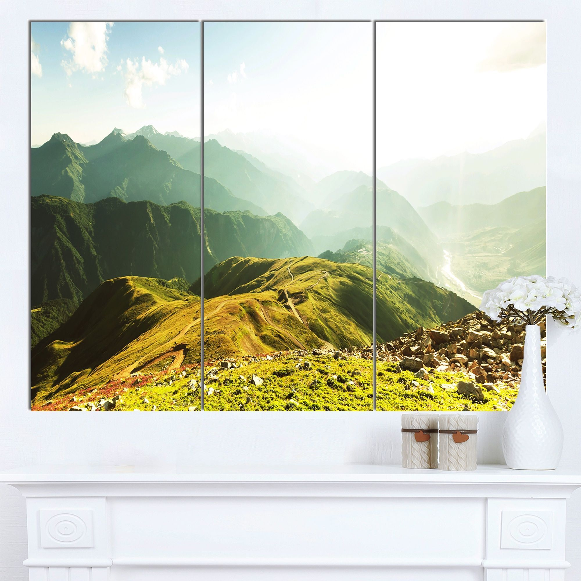Designart \'Caucasus Mountains Panorama\' Landscape Art Print Canvas ...