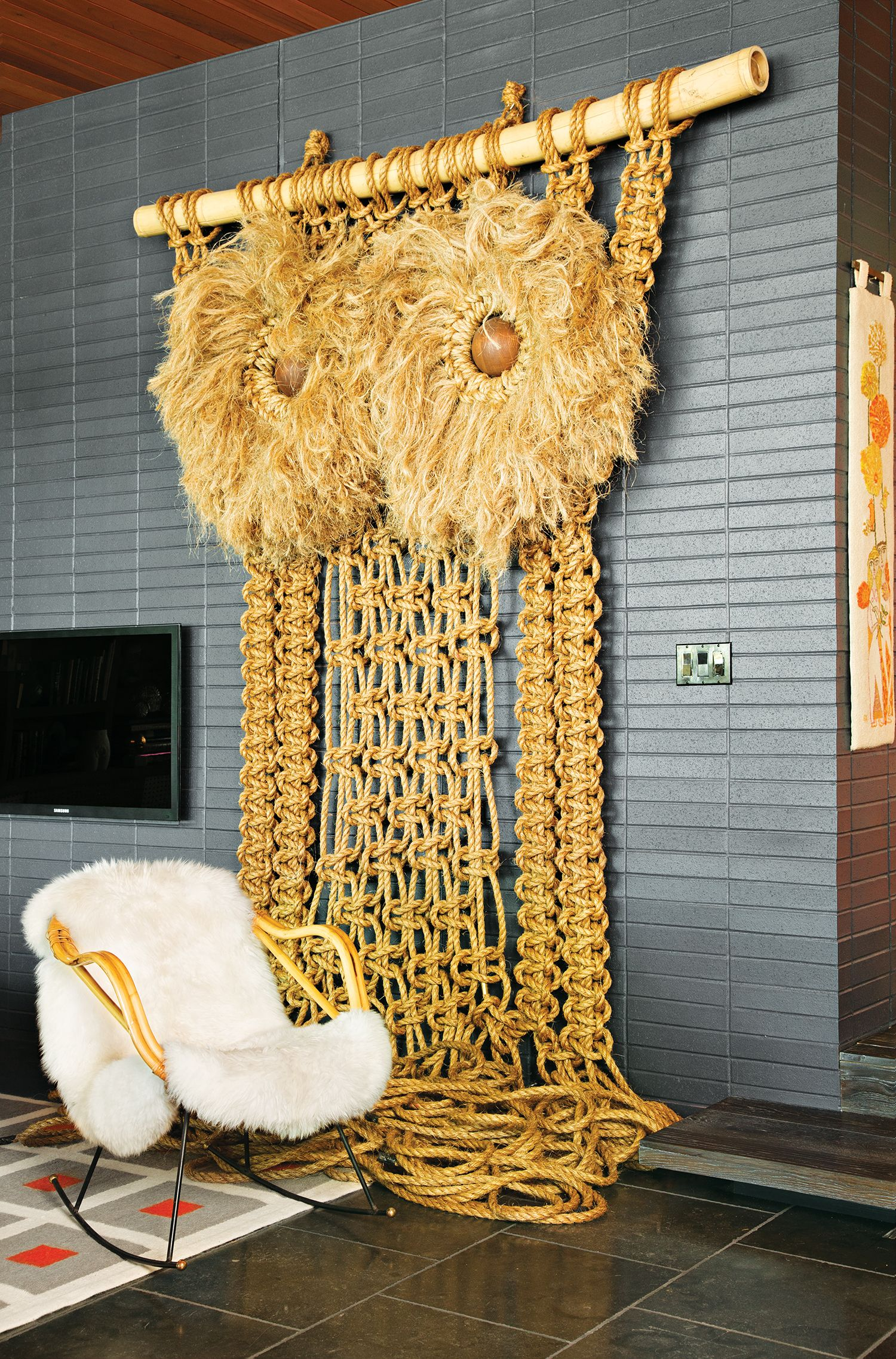 Giant owl macrame in Jonathan Adler + Simon Doonan's