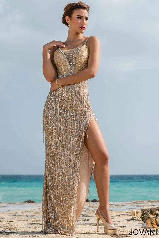 136299c4c05 Stunning sleeveless Jovani pageant or prom gown with embellished waistband