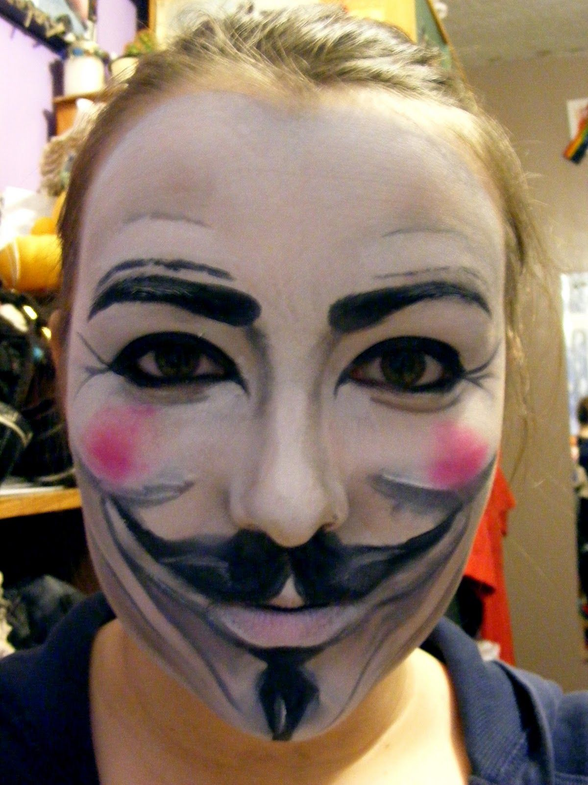 V For Vendetta Prom Face Painting Halloween Easy Halloween Face Painting Special Effects Makeup