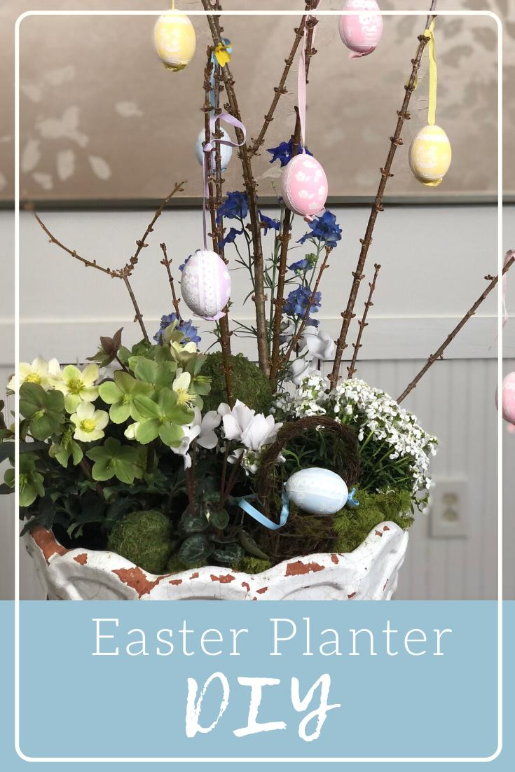 Easy Spring Or Easter Planter Diy Easter Diy Easter Decorations Outdoor Easter Crafts