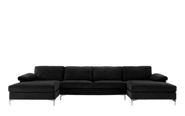 Amanda Xl Modern Velvet Oversized Sectional Sofa Home