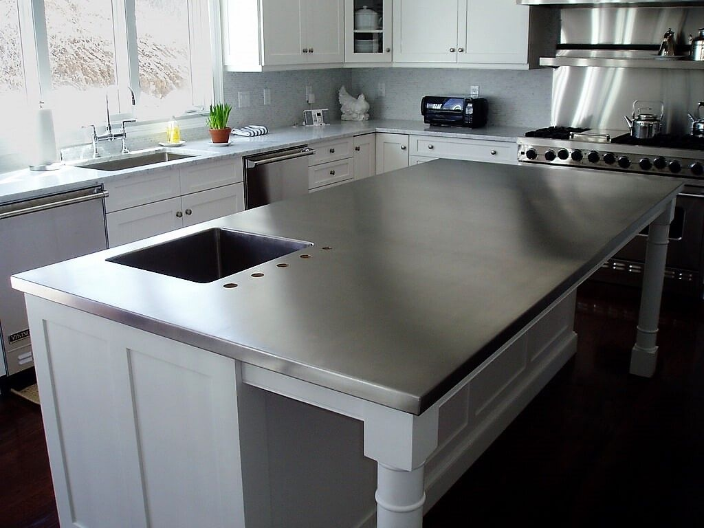 Farmhouse Kitchen With Brushed Stainless Steel Island Countertop Broo Replacing Kitchen Countertops Stainless Steel Countertops Stainless Steel Kitchen Island