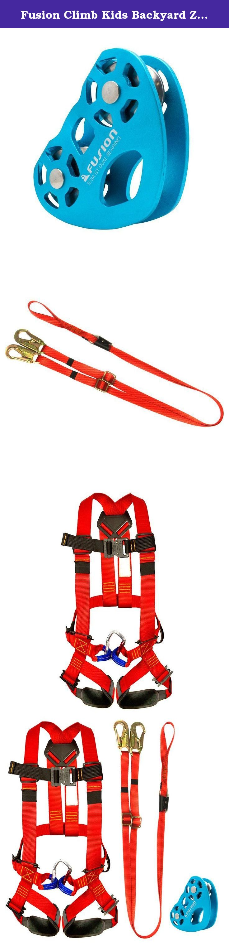 Fusion Climb Kids Backyard Zip FK-K-HLT-03 Line Kit Harness Lanyard Trolley Bundle, Black. Fusion Climb Kids Backyard Zip Line Kit Harness Lanyard Trolley Bundle FK-K-HLT-03 Fusion Climb Warrior Kids Full Body Climbing Rope Course Harness Red - Light-weight and secure full body harness designed specifically for kids ages 3-8. - Easy adjustment to accommodate many sized climbers. - Keep your little one safe and comfortable as you both climb to new levels! - Padded on the leg loops for comfort...