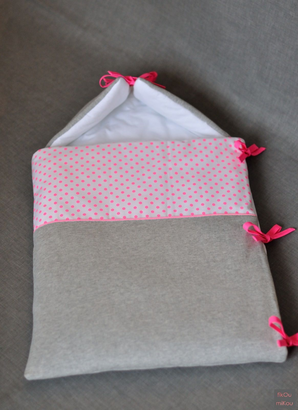 Baby bunting made out of sweatshirt material. So cozy and sweet ...