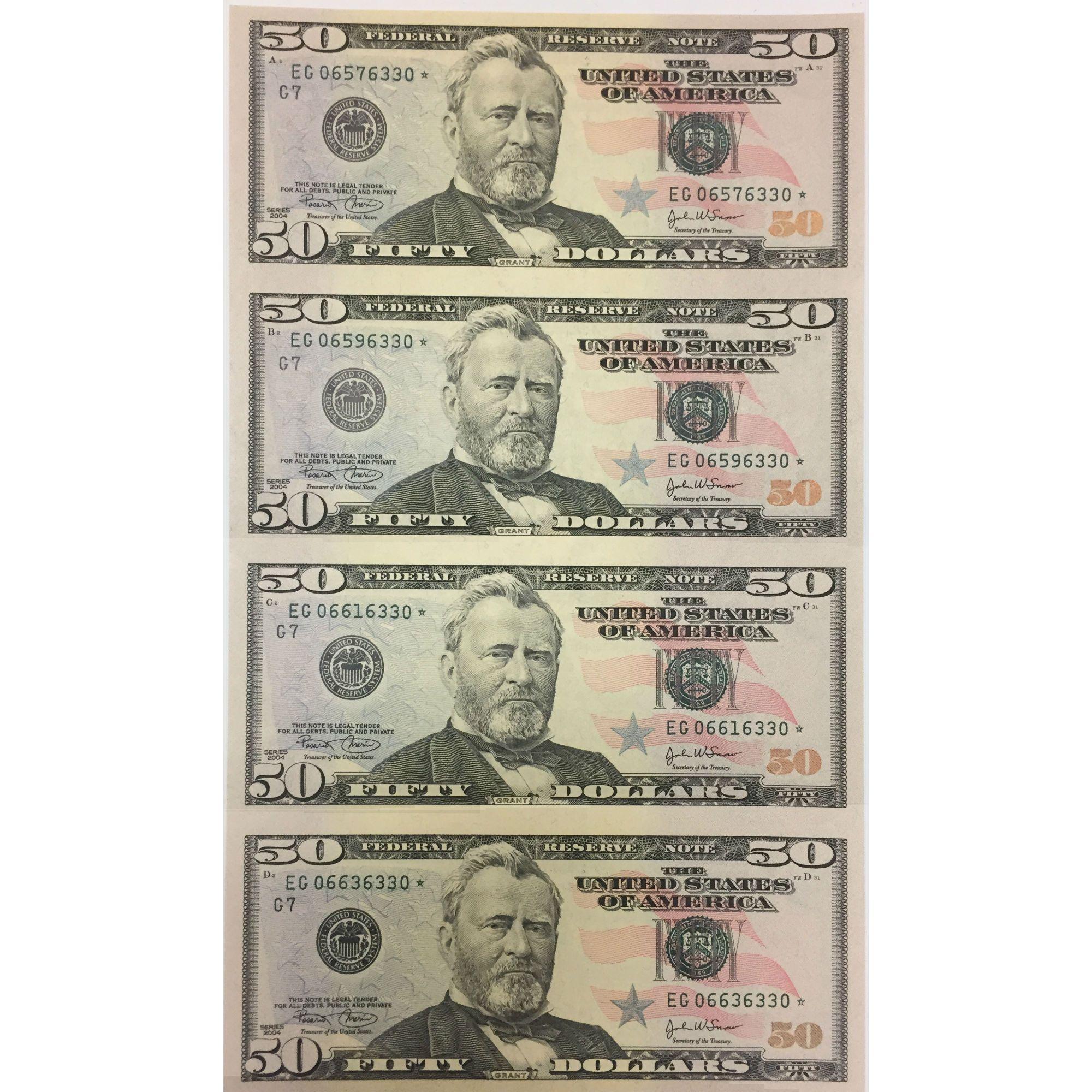 Uncut currency sheet 4 x 50 2004 star unc bullion coins