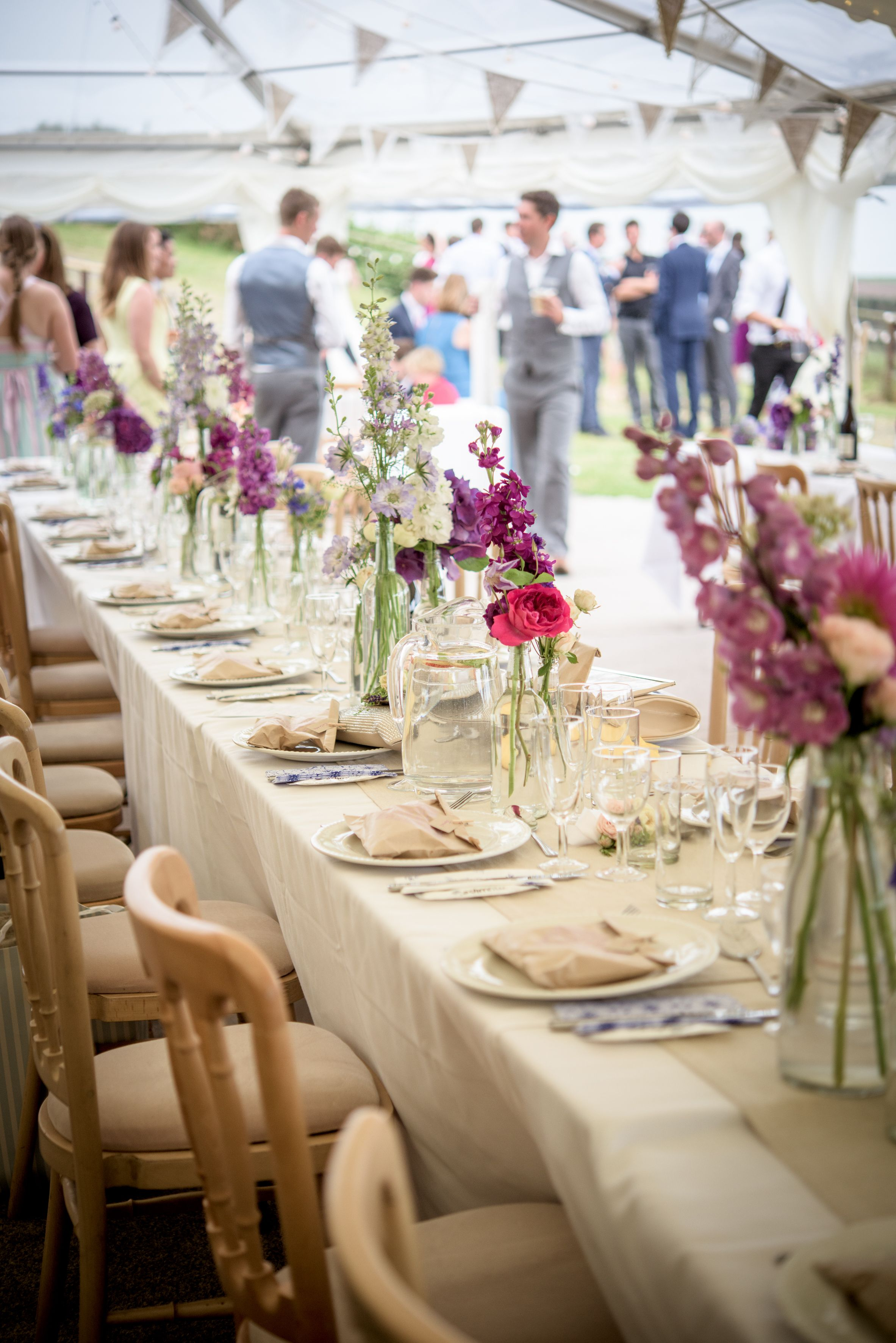 Beautiful Wedding Marquee With Country Flowers Decorating Trestle Table Dining The C Marquee Wedding Decoration Marquee Wedding Wedding Table Decorations Diy