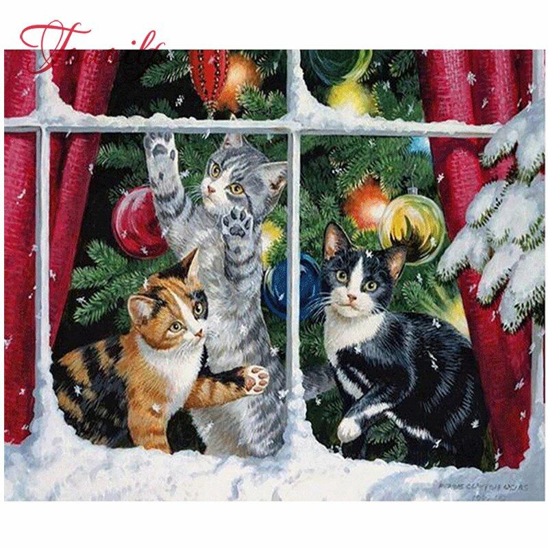Full DIY Diamond Painting kit A Christmas Cat Cross Stitch Diamond Embroidery Pa...