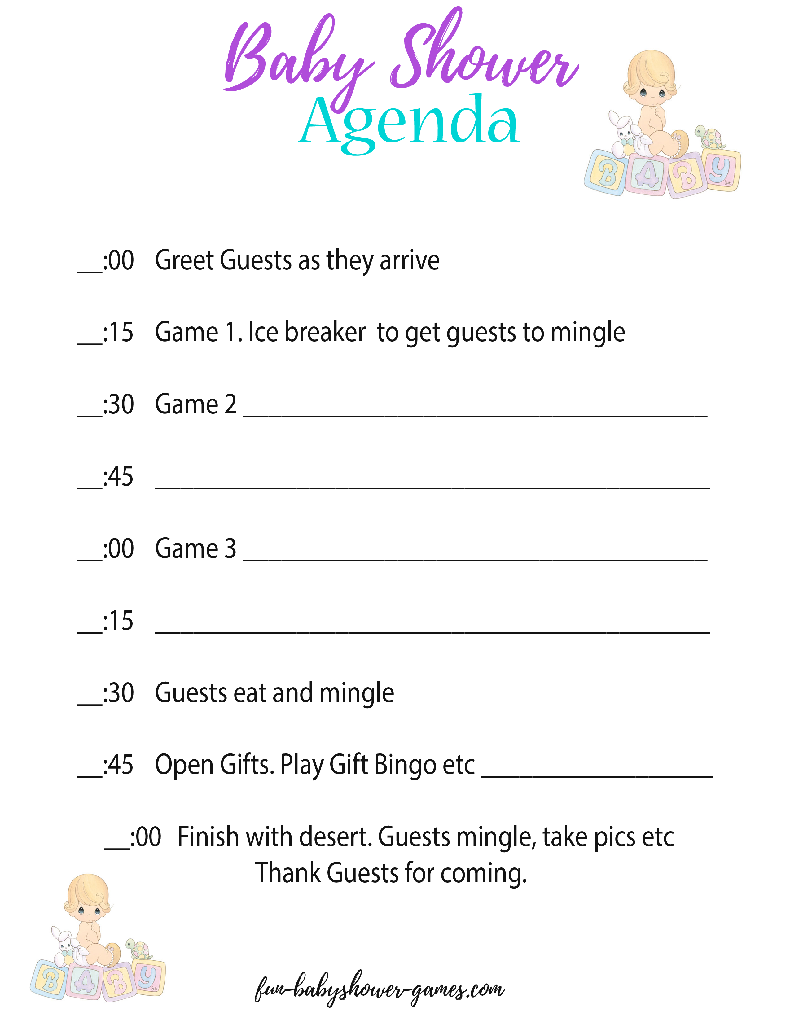 A Baby Shower Agenda Will Help Keep Everything Running According To Plan During The Baby Shower Baby Shower Program Baby Shower Baby Shower Planning Checklist