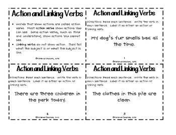 action and linking verbs task cards education linking verbs teaching english grammar task. Black Bedroom Furniture Sets. Home Design Ideas