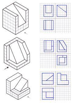 Resultado De Imagen De Laminas De Vistas Para Hacer En Isometrica Clases De Dibujo Tecnico Clases De Dibujo Vistas Dibujo Tecnico