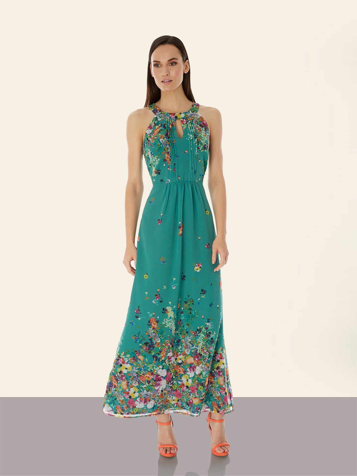 Cascading Floral Print Halterneck Maxi Dress falls full-length pleated  detailing at front, a concealed hook and eye fastening at the neck with a  keyhole ...