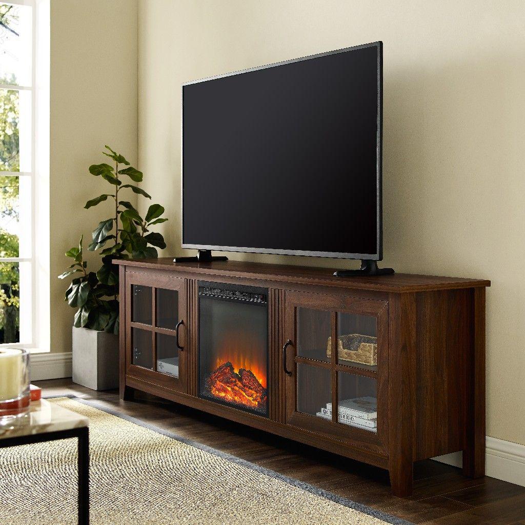 70 farmhouse fireplace wood tv stand in dark walnut