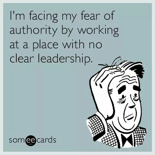 I M Facing My Fear Of Authority By Working At A Place With No Clear Leadership Work Quotes Funny Work Humor Work Memes