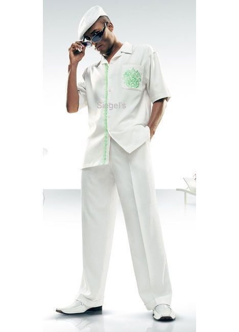 9a1bd6f6fa3f Stacy Adams Linen Suits | STACY ADAMS® GREEN EMBROIDERED POCKET SPORTS