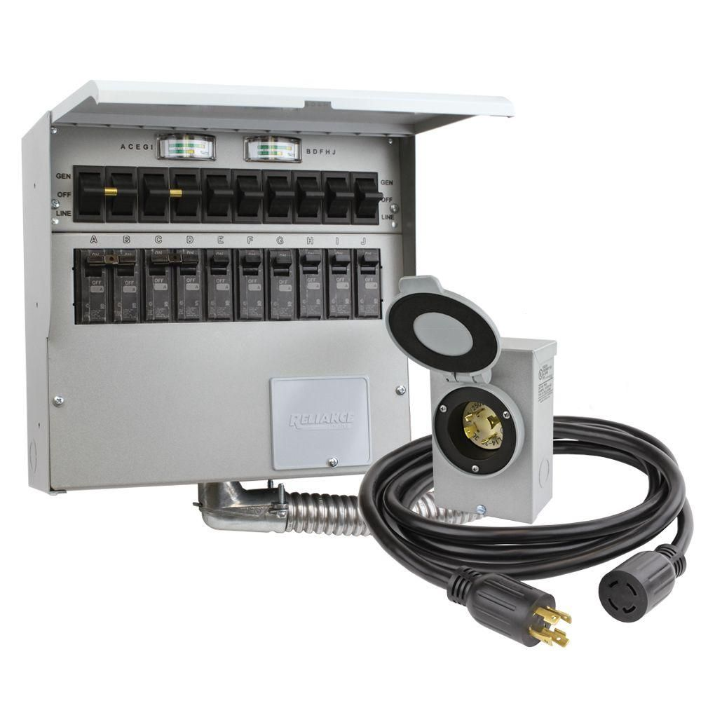 reliance controls 10-circuit 30 amp manual transfer switch kit-310crk - the  home depot
