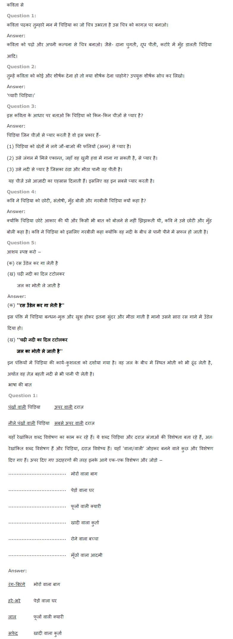 NCERT Solutions for Class 6th Hindi Chapter 1 वह