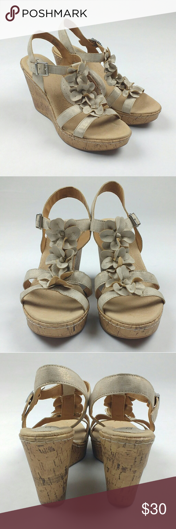 7618e0686a71 BOC Jill Wedge Sandal Rose Gold Metallic BOC by Born wedge sandals in great  condition.