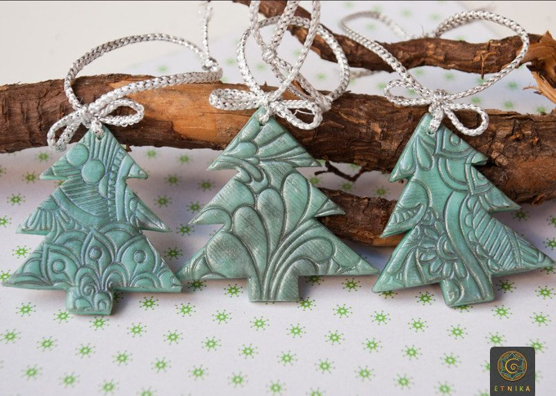 Set of Three Christmas Trees Toys Polymer Clay Christmas decor ...