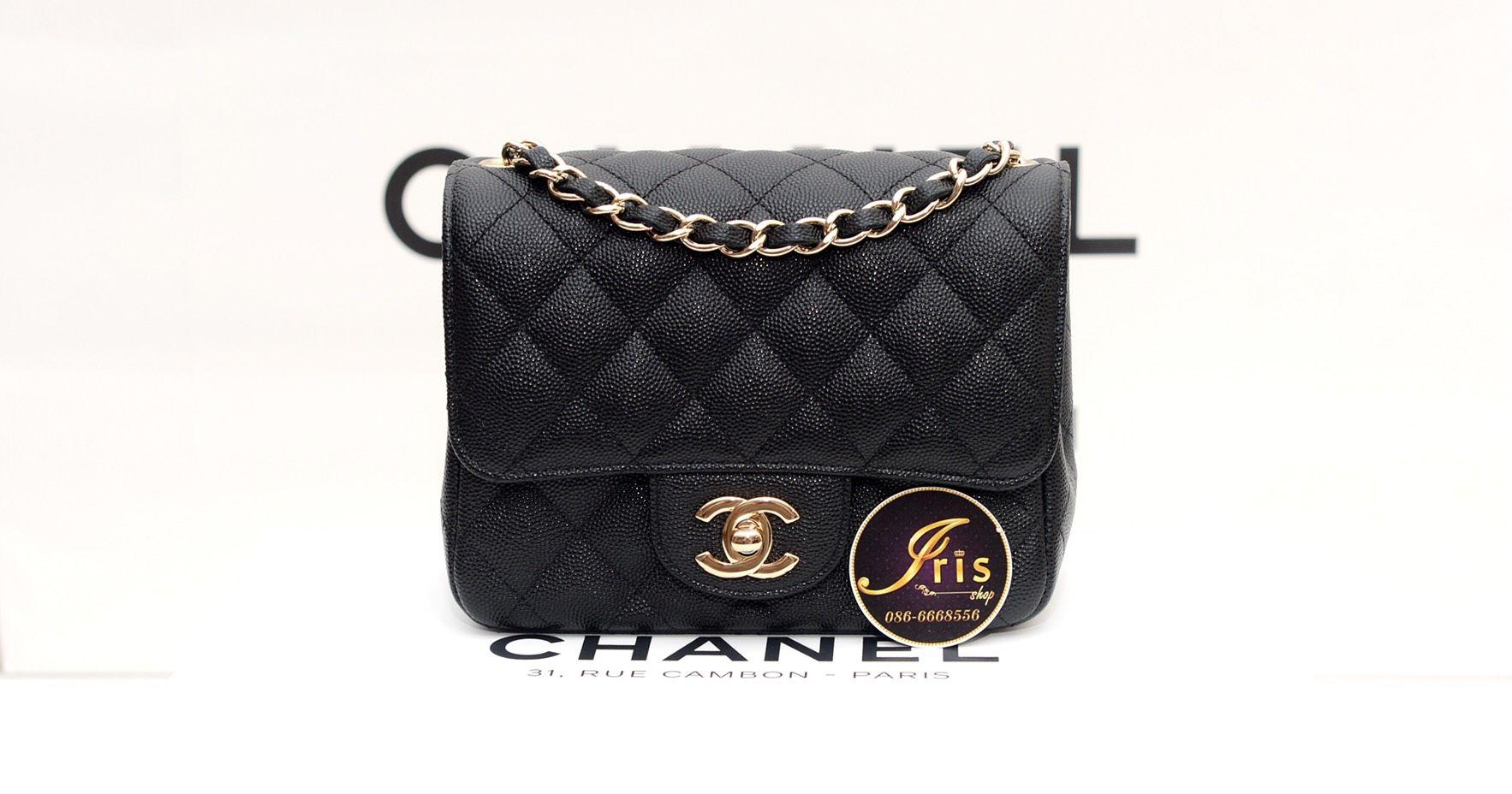 b4d9a552f460  กระเป๋า Chanel Classic Mini 7″ square in Black Caviar GHW เย็บขอบ อะไหล่