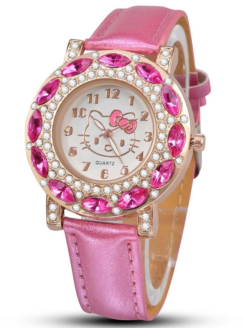 a2c8802f5 NEW Cartoon Fashion Brand Hello Kitty Quartz Watch Children Girl Women  Leather Crystal Wrist Watch Kids Wristwatch Clock relogio