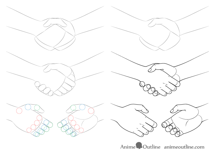 How To Draw A Handshake Step By Step Animeoutline Drawings Drawing Anime Hands Draw Shapes