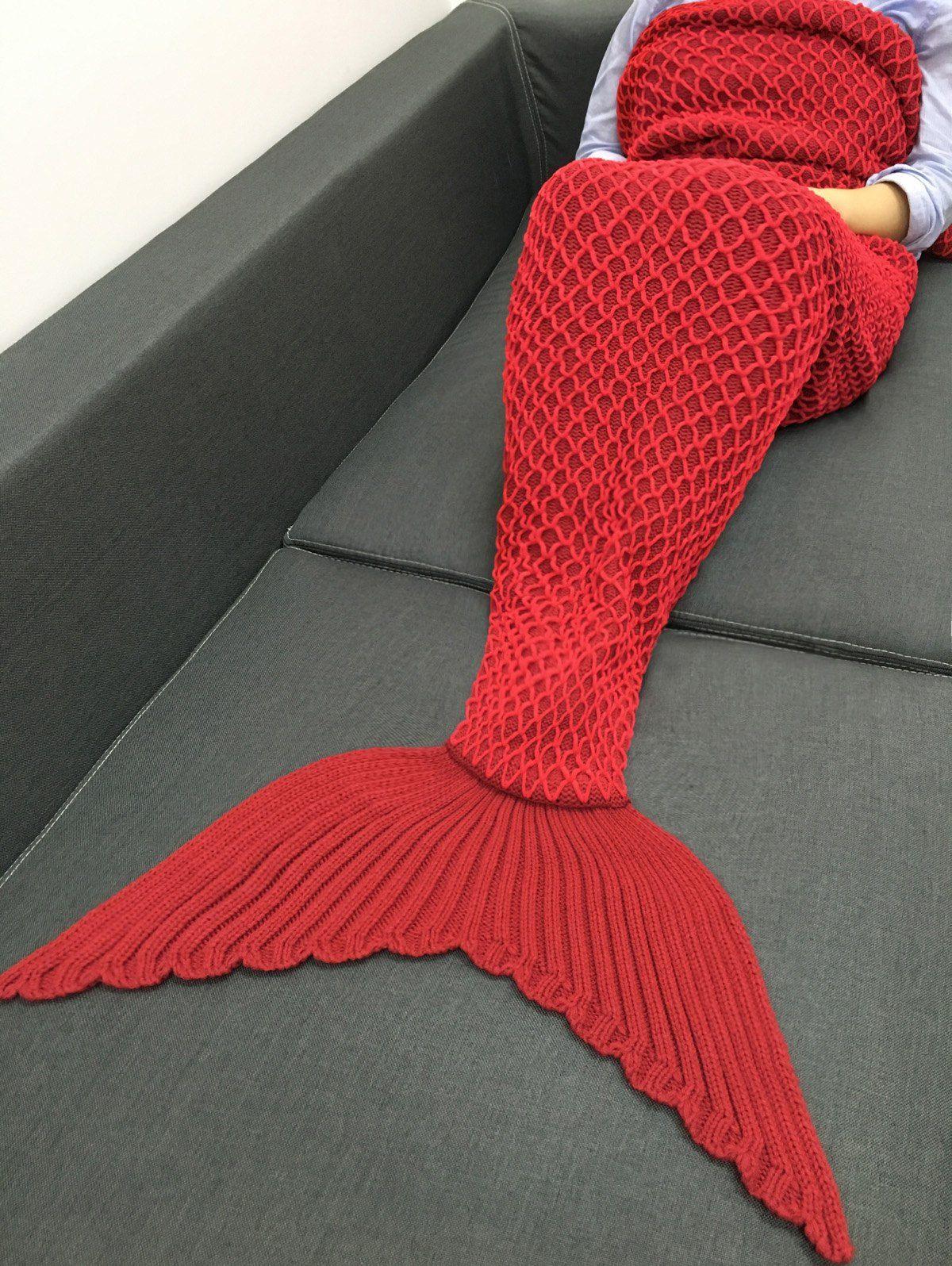 Chic Quality Knitting Fishing Net Design Mermaid Shape Blanket ...