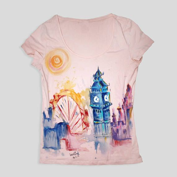 London Skyline Cute T Shirts Watercolor Travel London T