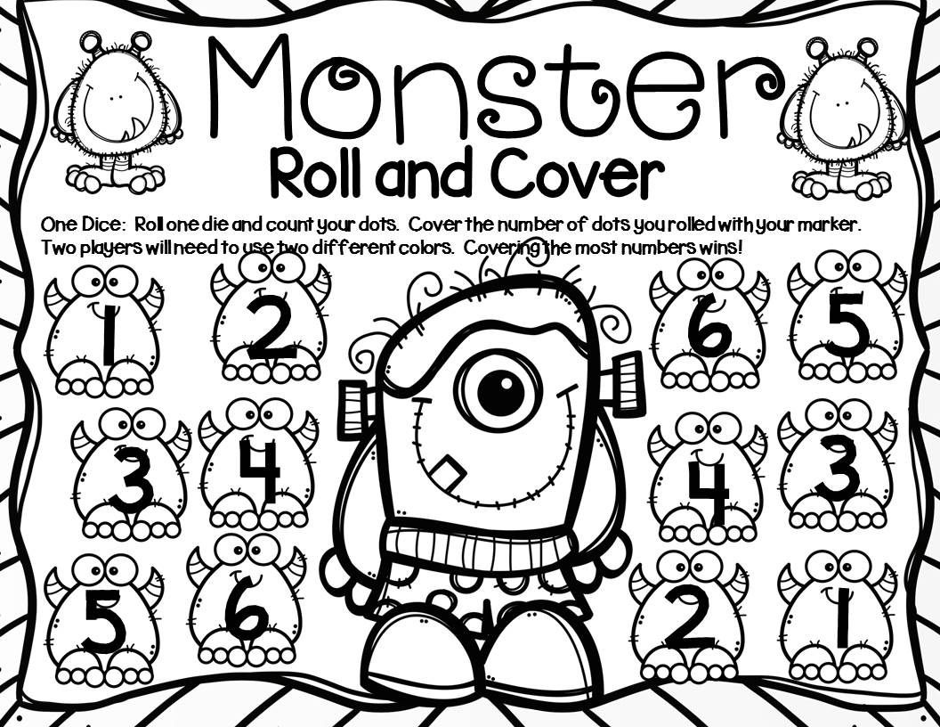 Monsters Math Center Dice Games With Images