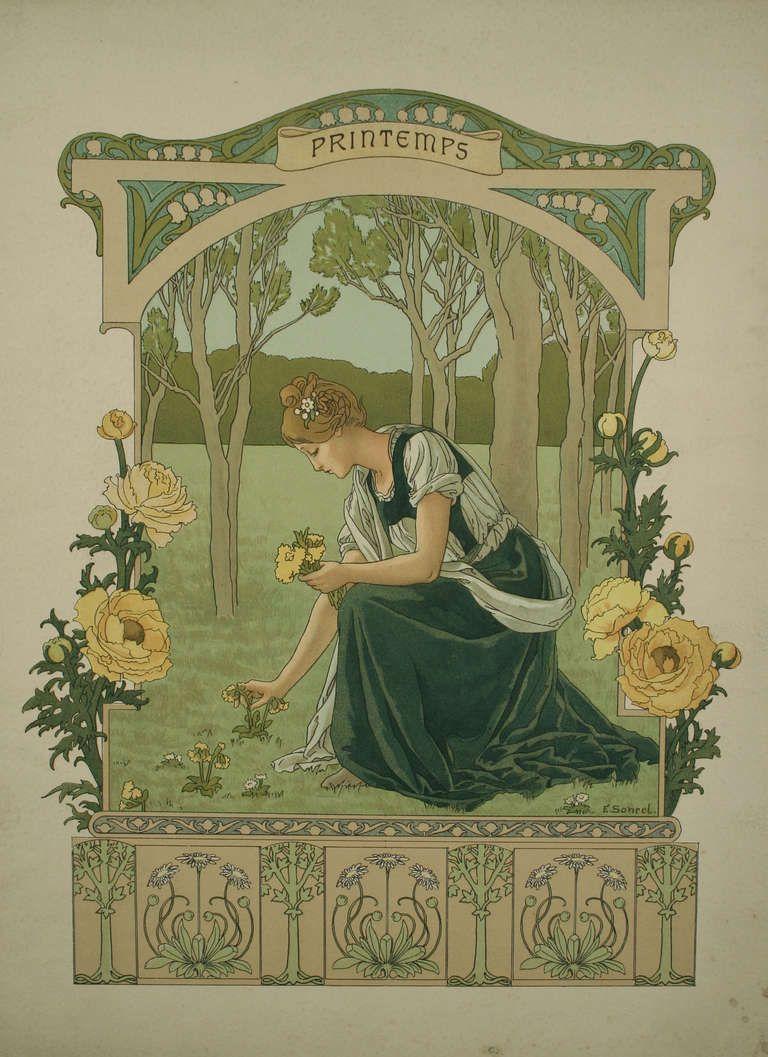 "Set of Four French Art Nouveau ""Seasons"" by Elisabeth Sonrel, 1890"