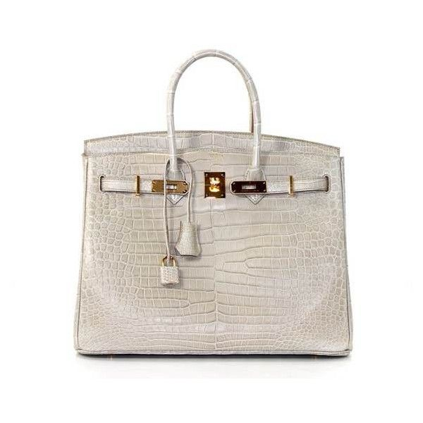 Pre-Owned Hermès Beton Matte Porosus Crocodile 35 Cm Birkin (€59.045) ❤ liked on Polyvore featuring bags, handbags, hermes handbags, crocodile leather purse, crocodile leather handbags, pink purse and croc embossed leather handbags