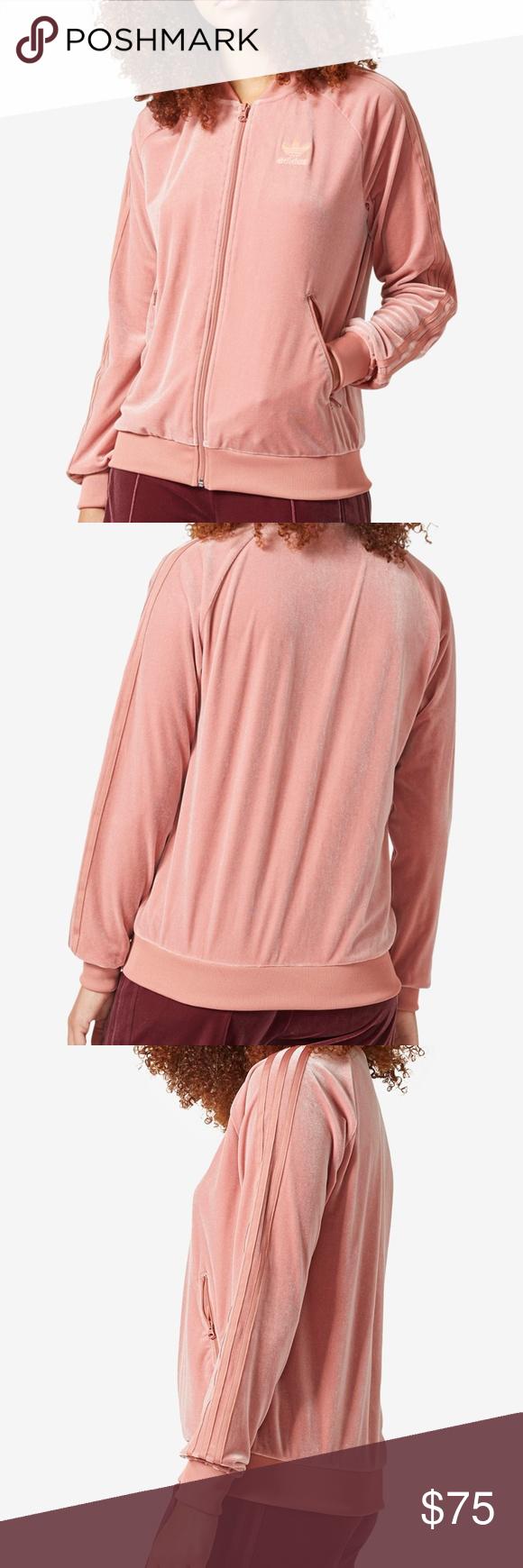 adidas Originals Velvet Vibes Track Jacket XL Pink Slip into