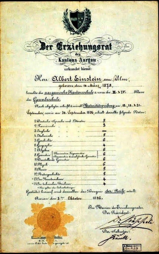 Boletín escolar de Albert Einstein