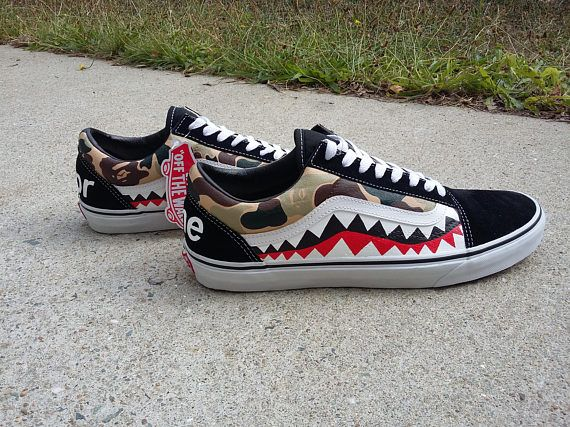 7b4c8cda0b Custom Old Skool Vans with Bape camo